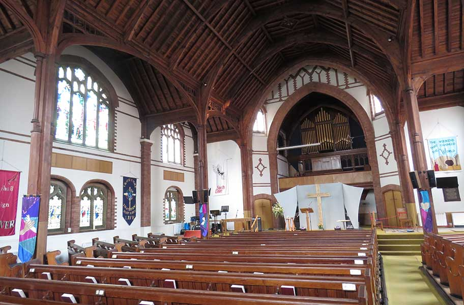 Inside the church in Westbourne - West Cliff Baptist
