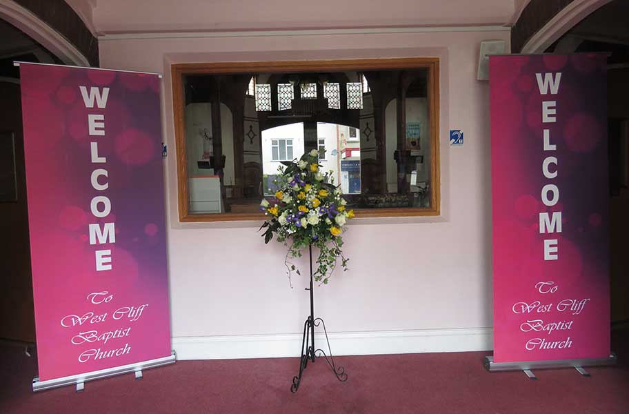 Welcome to West Cliff – the church entrance