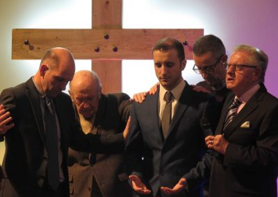 Chris being prayed for by Joth and representatives from WCBC and Alderholt
